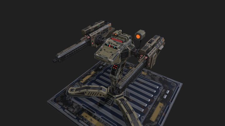 Sci-Fi Weapons - Auto-turret Security 3D Model