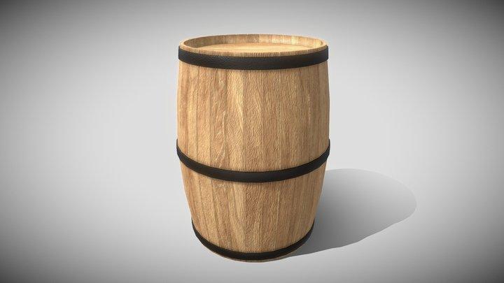 Wooden Barrel (Blend File, OBJ, DAE) 3D Model