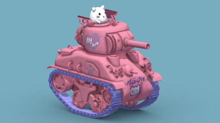 Cartoon kitten American Purrrman Tank 3D Model