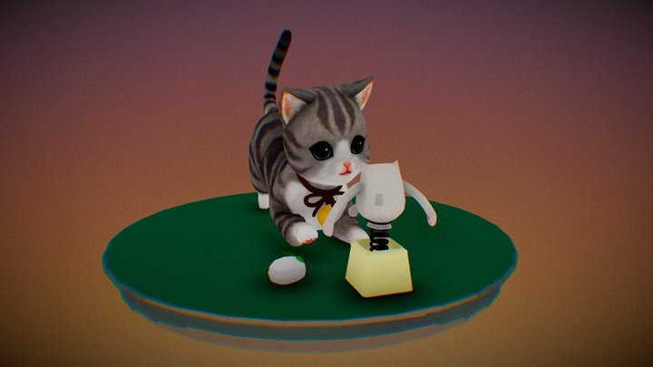 Cute kitten playing with a puppet 3D Model