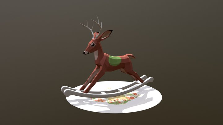 Rocking deer toy on a plate 3D Model