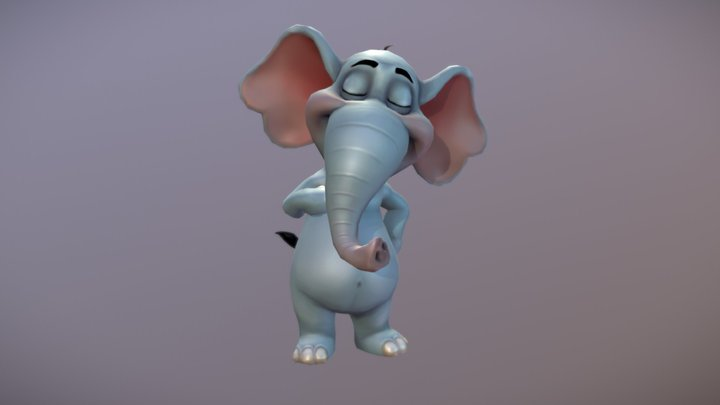 Jungle Animal: Cartoon Elephant 3D Model