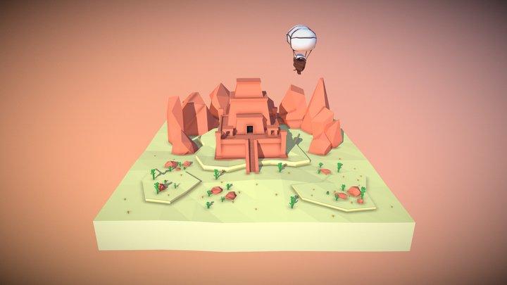 Desert Temple Diorama 3D Model