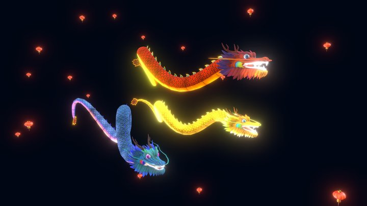 Chinese Dragon Pack 3D Model