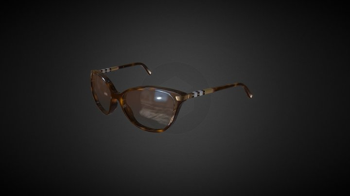 Burberry Cat Eye Tortoise F /  Brown L G08C01-B 3D Model