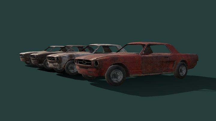 Old rusted American sport car - Low poly model 3D Model