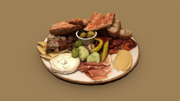 Appetizer plate with cheese and cured meat 3D Model