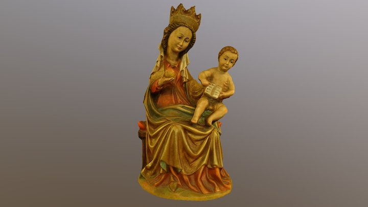 Madonna aus Holz 3D Model