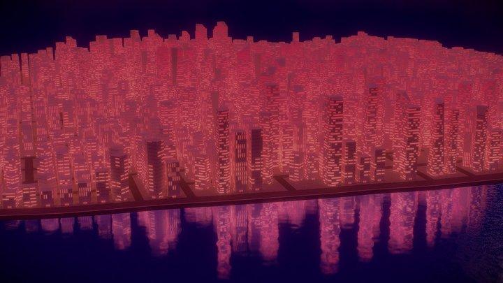 Low-Poly Coastline Cityscape 3D Model