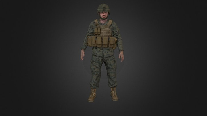 USMC marine soldier Offensive Idle 3D Model