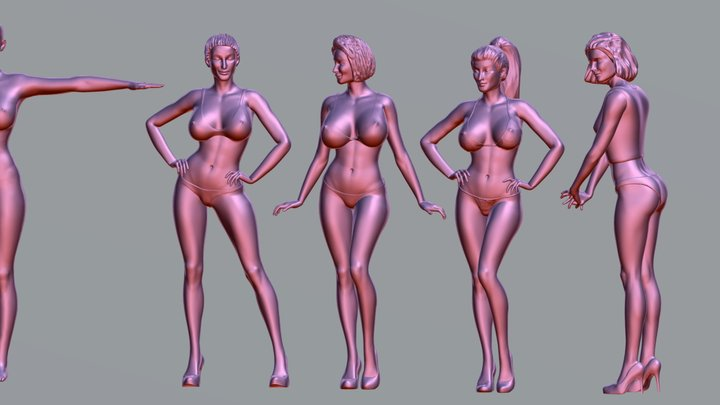 4 Attractive woman 3D print & ZBrush file (ZTL) 3D Model