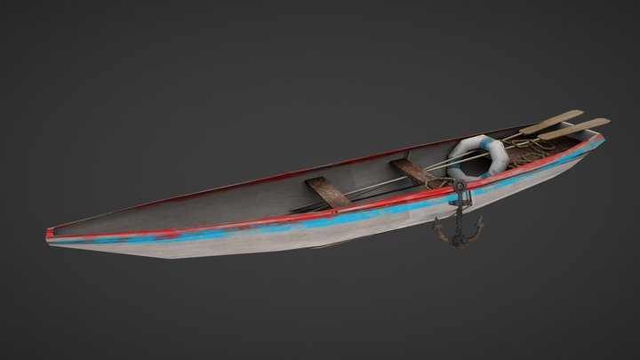 Low polly boat prop. 3D Model