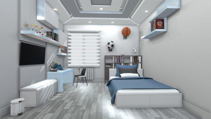 Teen Bedroom LowPoly 3D Model