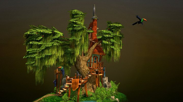 Witch Treehouse 3D Model