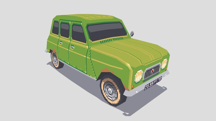 Low Poly French Car 3D Model