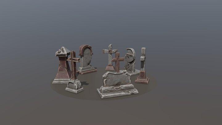 Night cemetery. Tombstones 3D Model