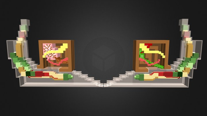 Voxel Art | Inside of a Zombie Snail and Shell 3D Model