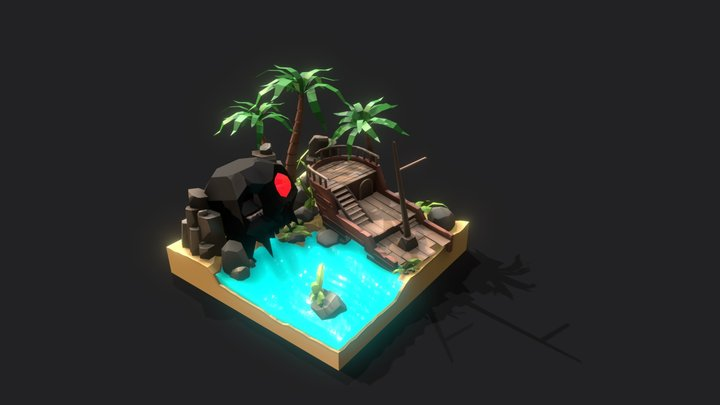 Skull Island Diorama 3D Model