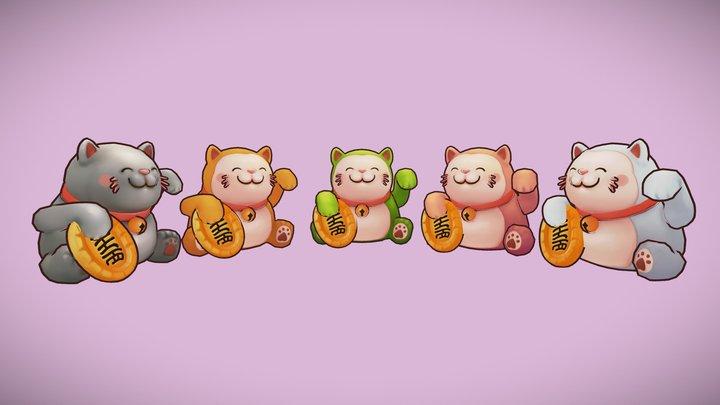 Maneki-neko Stylized Lowpoly LuckyCat Animated 3D Model