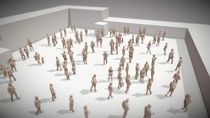Lowpoly People Crowd 3D Model