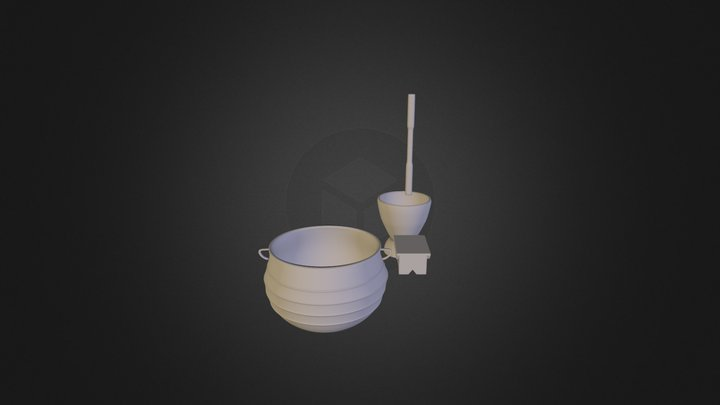 the African utensils and chair the first 3D Model