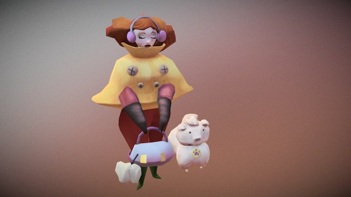 The lady and the dog 3D Model