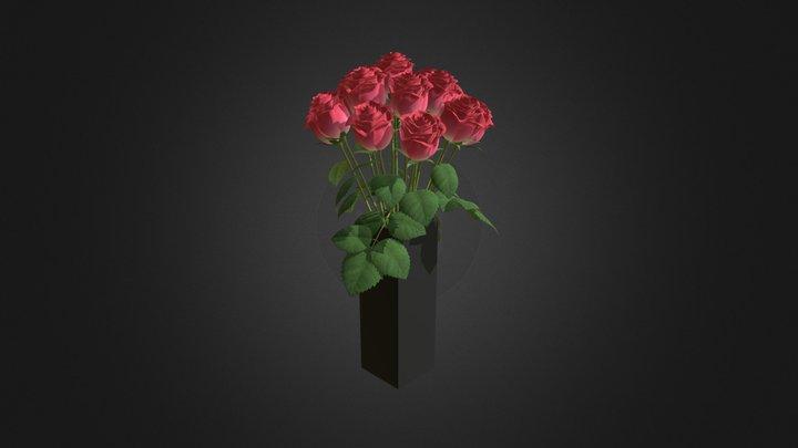 Red Roses in Glass Vase 3D Model