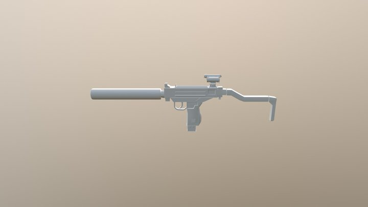 UZI with attachments 3D Model