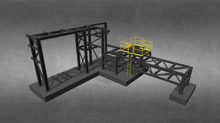 Pipe Rack & Platform 3D Model