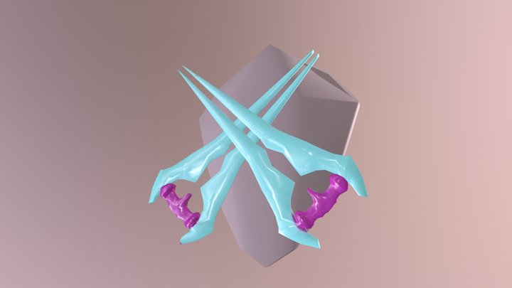 2 Energy Sword, One Shield 3D Model