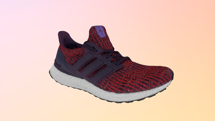 Adidas Ultra Boost Sneaker Red Sneakers Shoes 3D Model