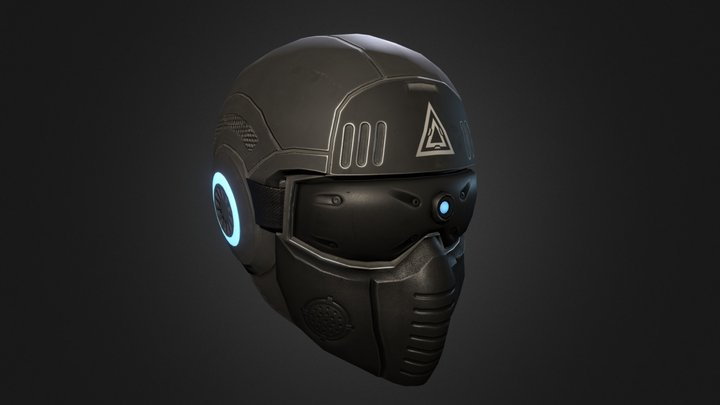 Sci-fi Augmented Reality Military Helmet 3D Model