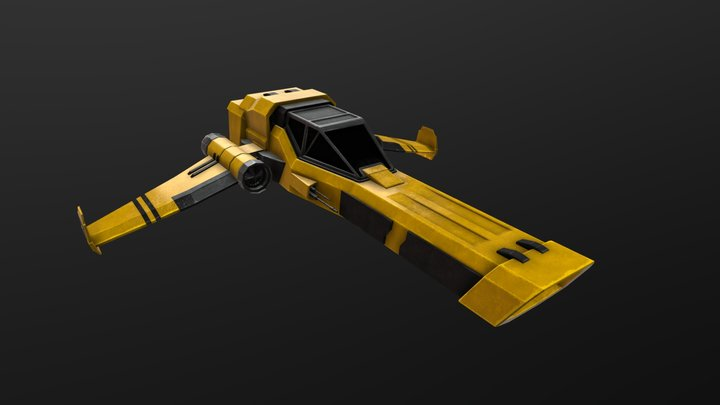 Yellow Spaceship 3D Model