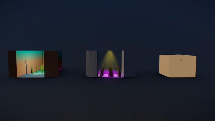 Low Poly Cardboard Box Challenge - Mini Scenes 3D Model