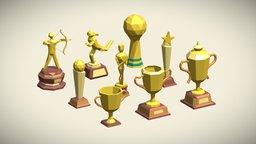 Low Poly Trophy Pack: 9 trophies in fbx/blend 3D Model