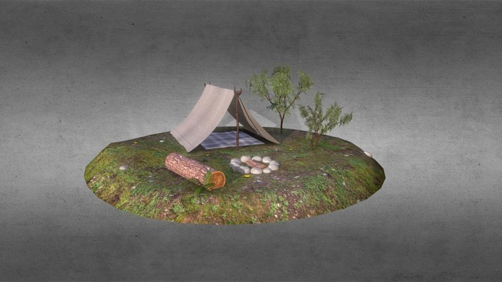A tent on the edge of the forest 3D Model