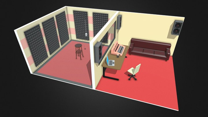 Low Poly Small Recording Studio 3D Model