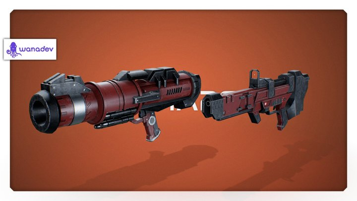 On Mars - SMG & Rocket launcher 3D Model