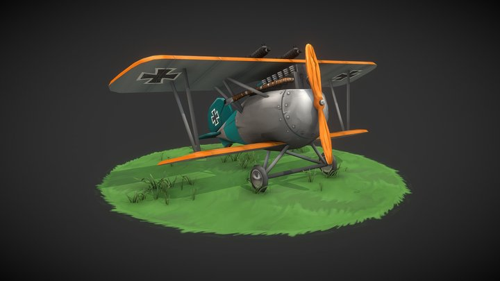 Stylized WW1 albatross aircraft 3D Model