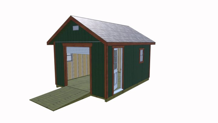 12x16 Gable Garage Shed 3D Model