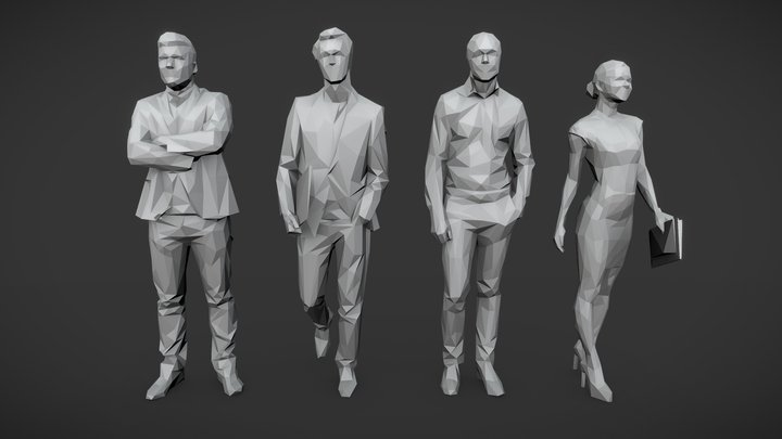 Lowpoly People Business Pack 3D Model