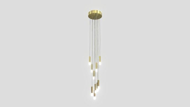 Wisteria LED Pendant Ceiling Light, Brass 3D Model