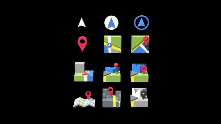 3D icons _Map 3D Model