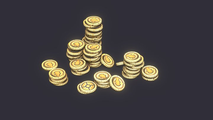 Hand Painted Stylized Coins 3D Model