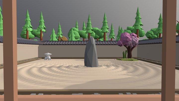 Low poly zen garden 3D Model