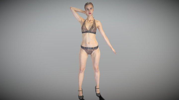 Slim beautiful woman in a swimsuit posing 168 3D Model