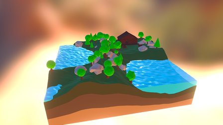 Landscape Blockhouse Low Poly 3D Model
