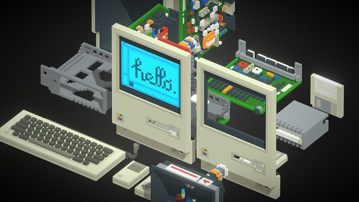 1984 Apple Macintosh 128k (Expanded) 3D Model