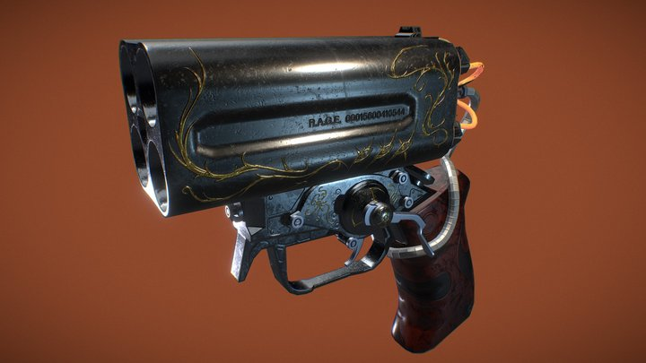 Quad-Barrel Howdah Pistol 3D Model