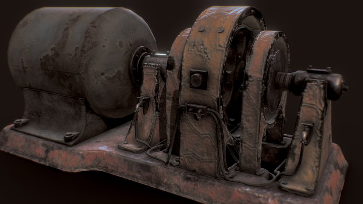 Old rusty Generator Machine 3D Model